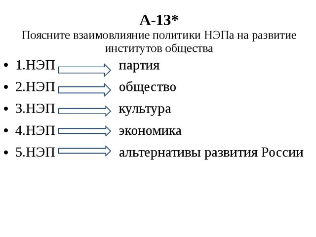 А-13* Поясните взаимовлияние политики НЭПа на развитие институтов общества 1....
