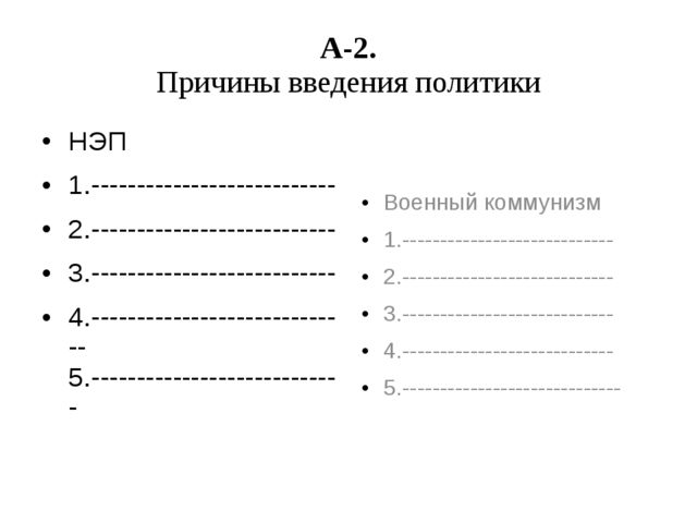 А-2. Причины введения политики НЭП 1.--------------------------- 2.----------...