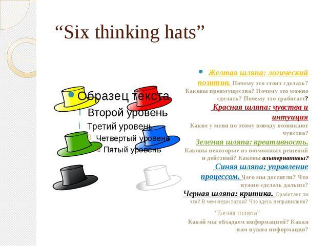 """""""Six thinking hats"""" Желтая шляпа: логический позитив. Почему это стоит сделат..."""