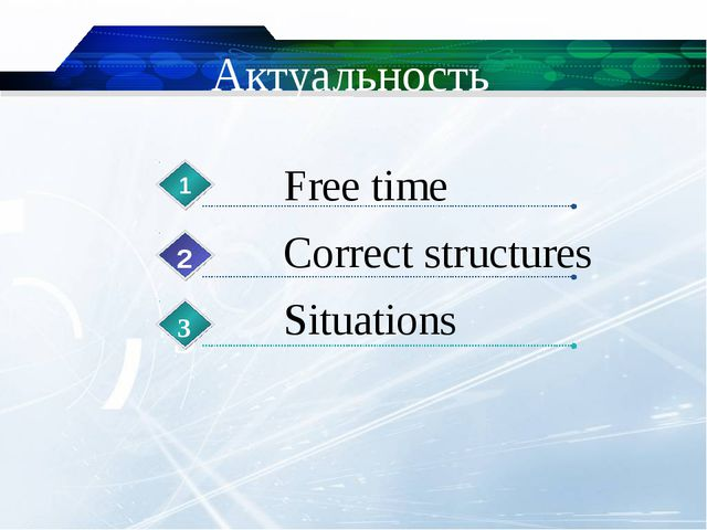 Актуальность Free time 1 Correct structures 2 Situations 3 3