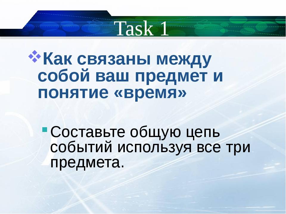 Task 1 Как связаны между собой ваш предмет и понятие «время» Составьте общую...