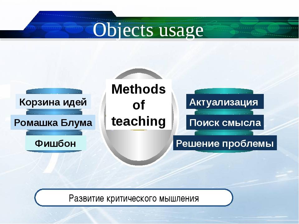 Objects usage Methods of teaching Развитие критического мышления Корзина идей...