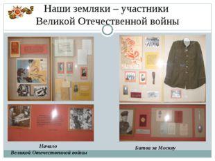 Начало Великой Отечественной войны Битва за Москву Наши земляки – участники