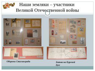 Наши земляки – участники Великой Отечественной войны Оборона Сталинграда Битв
