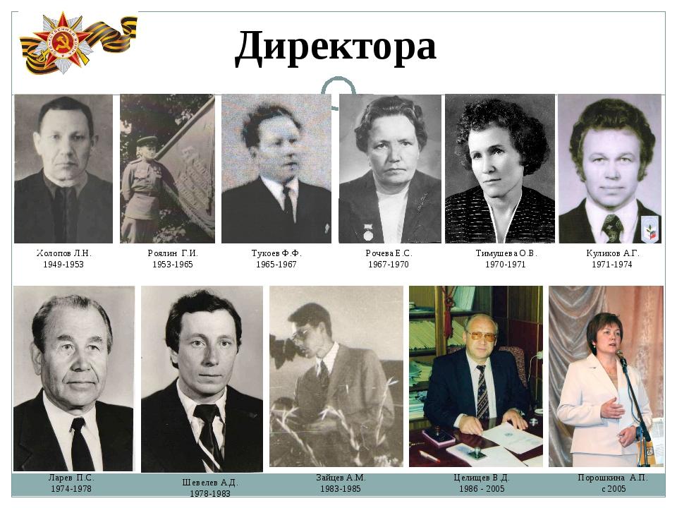 Директора Холопов Л.Н. 1949-1953 Роялин Г.И. 1953-1965 Тукоев Ф.Ф. 1965-1967...