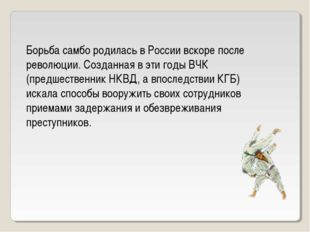 Борьба самбо родилась в России вскоре после революции. Созданная в эти годы В