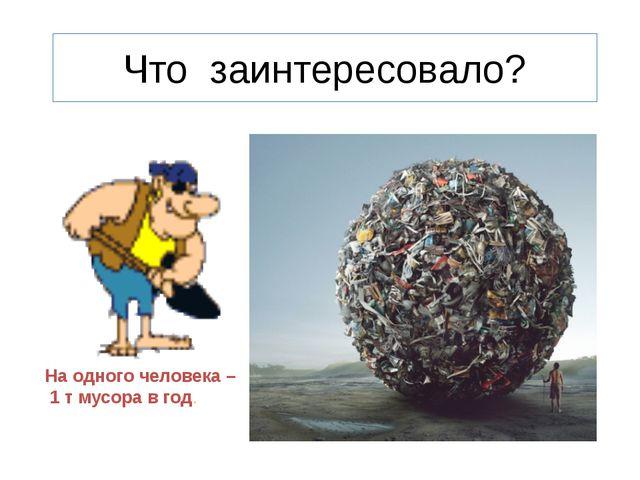 На одного человека – 1 т мусора в год. Что заинтересовало?