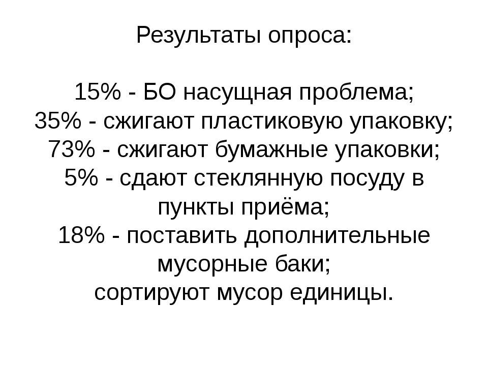 Результаты опроса: 15% - БО насущная проблема; 35% - сжигают пластиковую упак...