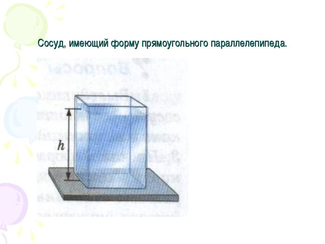 Сосуд, имеющий форму прямоугольного параллелепипеда.