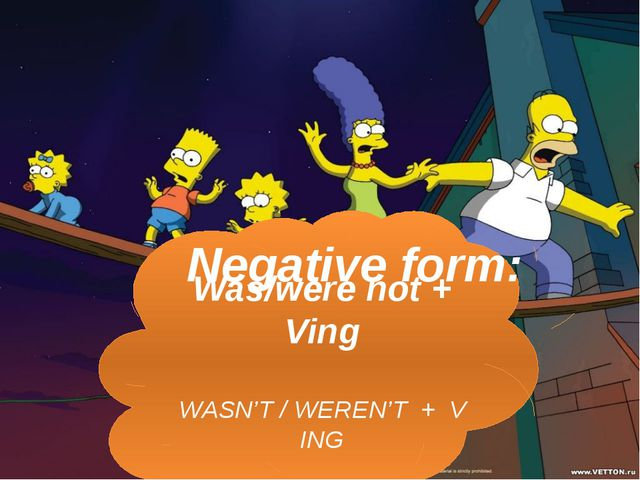 Was/were not + Ving WASN'T / WEREN'T + V ING Negative form: