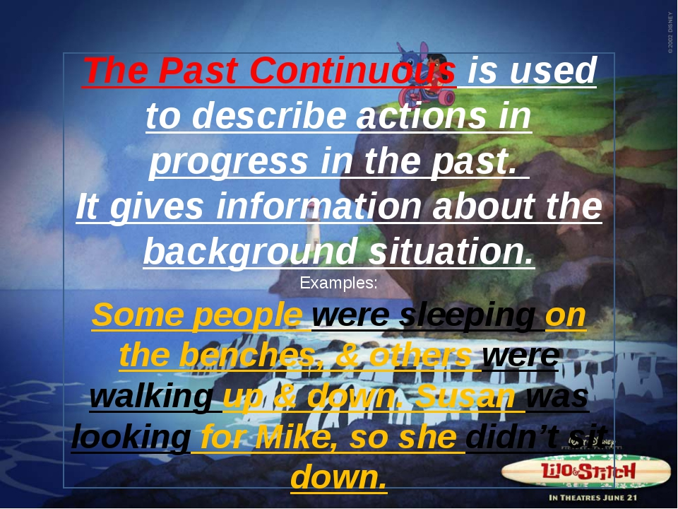 The Past Continuous is used to describe actions in progress in the past. It g...