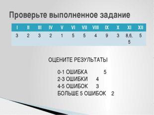 Проверьте выполненное задание ОЦЕНИТЕ РЕЗУЛЬТАТЫ 0-1 ОШИБКА 5 2-3 ОШИБКИ4 4