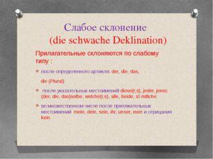 Слабое склонение (die schwache Deklination) Прилагательные склоняются по слаб