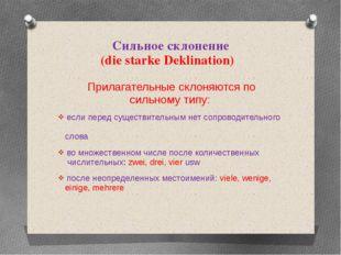 Сильное склонение (die starke Deklination) Прилагательные склоняются по сильн
