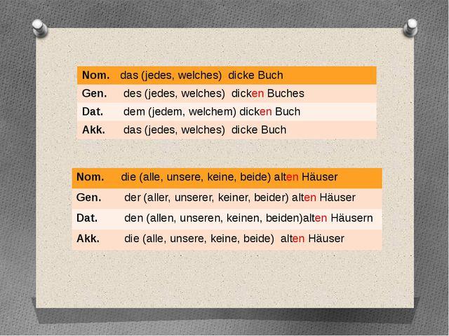 Nom. die (alle,unsere,keine,beide)altenHäuser Gen. der(aller,unserer,keiner,b...