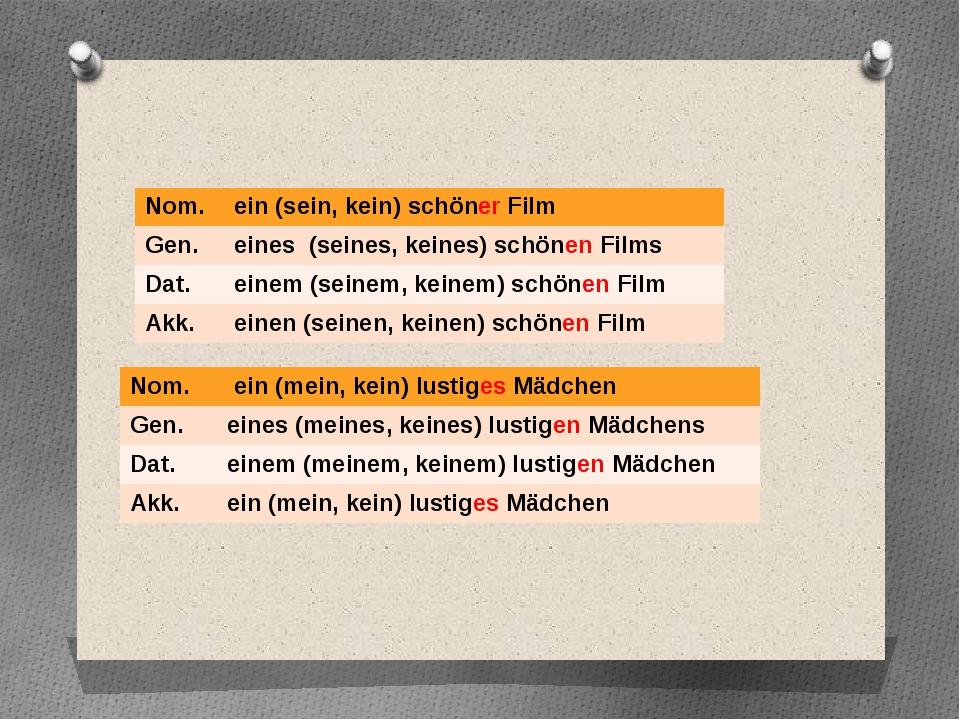 Nom. ein(sein,kein)schönerFilm Gen. eines(seines,keines)schönenFilms Dat. ein...