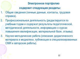 Электронное портфолио содержит следующие разделы: Общие сведения (личные да