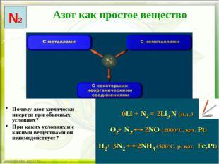 Почему азот химически инертен при обычных условиях? При каких условиях и с к