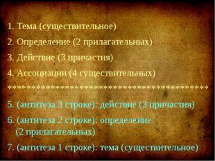1. Тема (существительное) 2. Определение (2 прилагательных) 3. Действие (3 пр