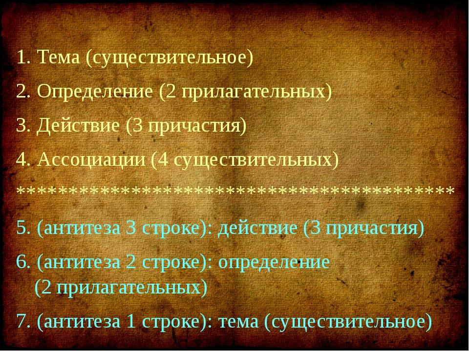 1. Тема (существительное) 2. Определение (2 прилагательных) 3. Действие (3 пр...