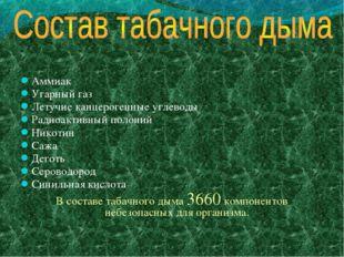 Аммиак Угарный газ Летучие канцерогенные углеводы Радиоактивный полоний Никот