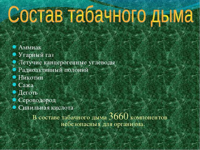 Аммиак Угарный газ Летучие канцерогенные углеводы Радиоактивный полоний Никот...