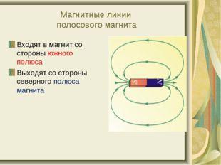 Магнитные линии полосового магнита Входят в магнит со стороны южного полюса В