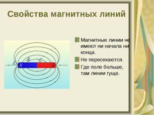 Свойства магнитных линий Магнитные линии не имеют ни начала ни конца. Не пере