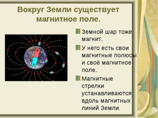 Вокруг Земли существует магнитное поле. Земной шар тоже магнит. У него есть с