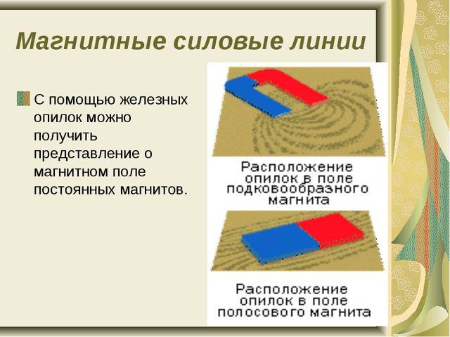 Магнитные силовые линии С помощью железных опилок можно получить представлени...