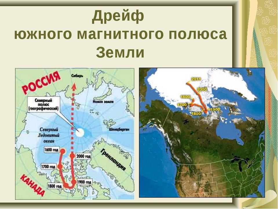 Дрейф южного магнитного полюса Земли