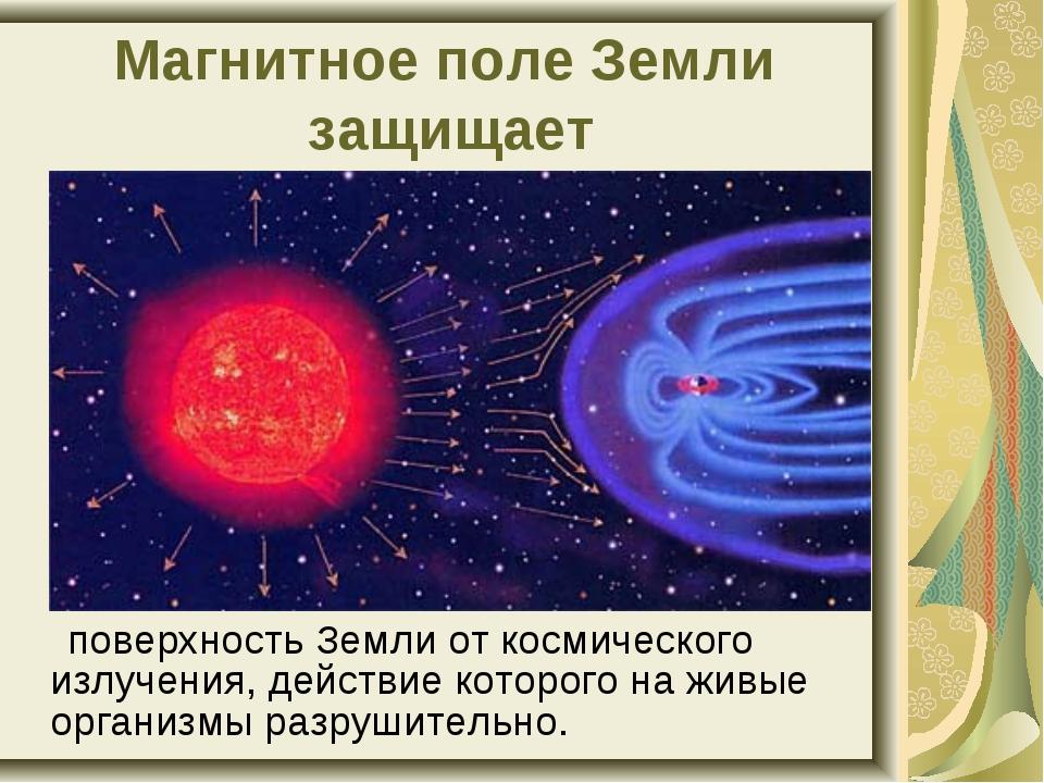 поверхность Земли от космического излучения, действие которого на живые орга...