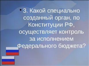 3. Какой специально созданный орган, по Конституции РФ, осуществляет контроль