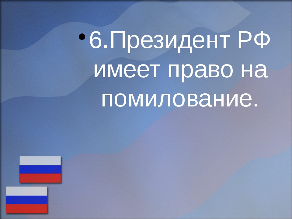 6.Президент РФ имеет право на помилование.