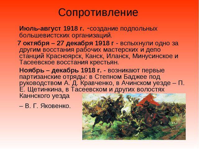 Сопротивление Июль-август 1918 г. -создание подпольных большевистских организ...