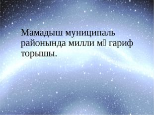 Мамадыш муниципаль районында милли мәгариф торышы.