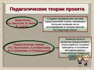 Педагогические теории проекта Аристотель, св. Августин, В. Лили, Ф. Санчес Пе