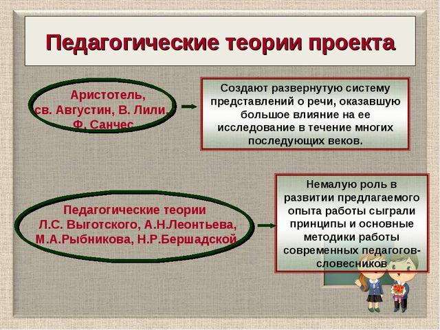 Педагогические теории проекта Аристотель, св. Августин, В. Лили, Ф. Санчес Пе...