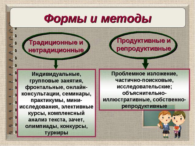 Продуктивные и репродуктивные Традиционные и нетрадиционные Формы и методы