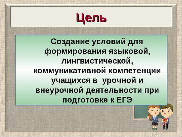 Цель Создание условий для формирования языковой, лингвистической, коммуникати...