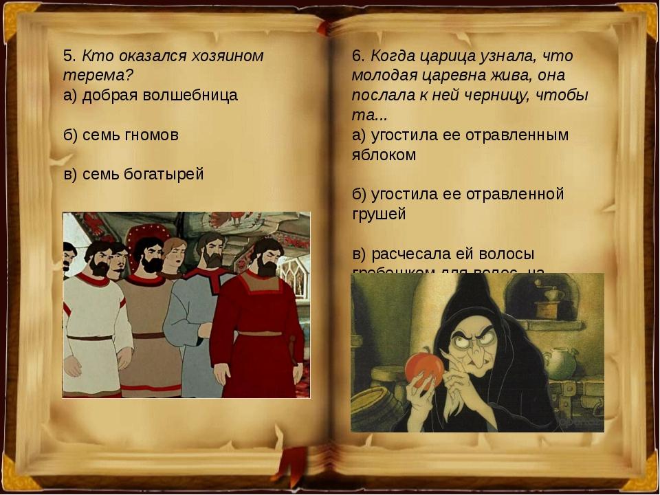 5. Кто оказался хозяином терема? а) добрая волшебница б) семь гномов в) семь...
