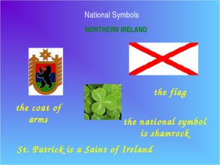 National Symbols NORTHERN IRELAND the flag the coat of arms the national symb