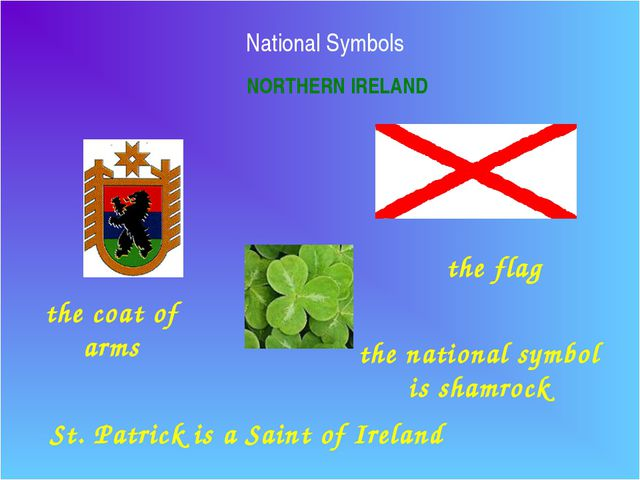 National Symbols NORTHERN IRELAND the flag the coat of arms the national symb...