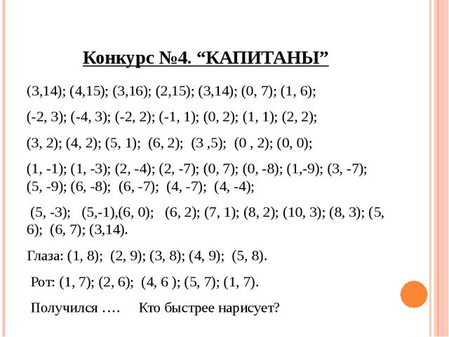 """Конкурс №4. """"КАПИТАНЫ"""" (3,14); (4,15); (3,16); (2,15); (3,14); (0, 7); (1, 6)..."""