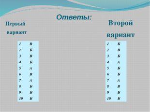 Ответы: Первый вариант Второй вариант 1 В 2 Б 3 В 4 Б 5 А 6 В 7 А 8 Б 9 Б 10