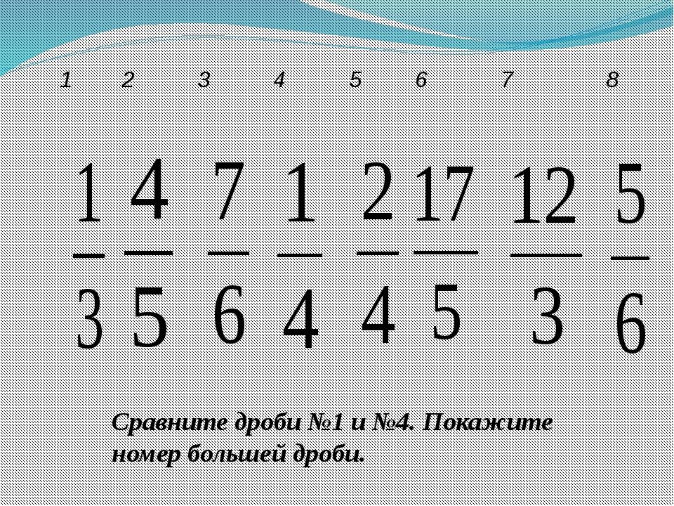 Сравните дроби №1 и №4. Покажите номер большей дроби. 1 2 3 4 5 6 7 8
