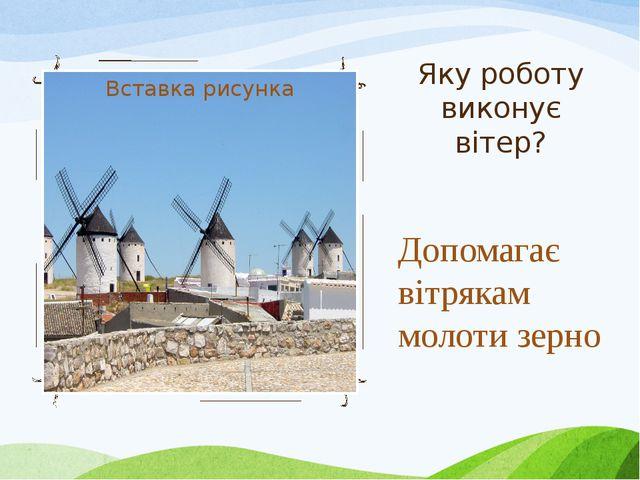 Яку роботу виконує вітер? Допомагає вітрякам молоти зерно
