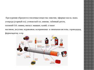При курении образуются токсичные вещества: никотин, эфирные масла, окись угл