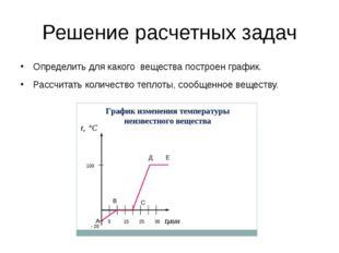 Решение расчетных задач Определить для какого вещества построен график. Рассч