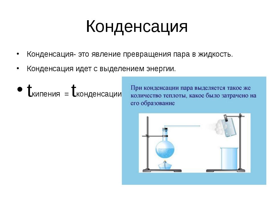 Конденсация Конденсация- это явление превращения пара в жидкость. Конденсация...